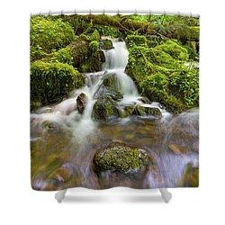 Little Waterfalls Along Wahkeena Creek Shower Curtain