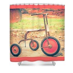 Little Wheels Shower Curtain by Toni Hopper