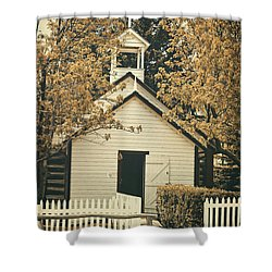 Little White Church Shower Curtain by Maria Angelica Maira