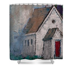 Little White Church On The Corner Christian Painting  Shower Curtain