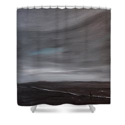 Shower Curtain featuring the painting Little Woman In Large Landscape by Tone Aanderaa