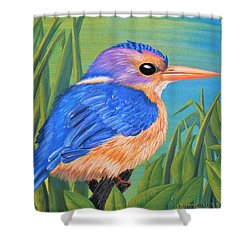 Shower Curtain featuring the painting Litttle King Of The Fishers by Sophia Schmierer