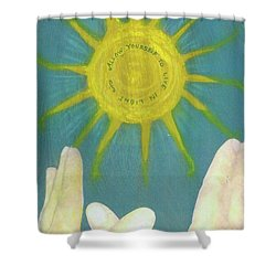 Shower Curtain featuring the mixed media Live In Light by Desiree Paquette