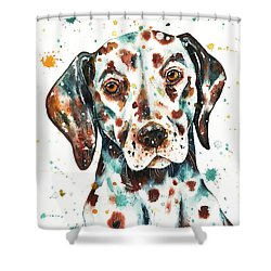 Shower Curtain featuring the painting Liver-spotted Dalmatian by Zaira Dzhaubaeva