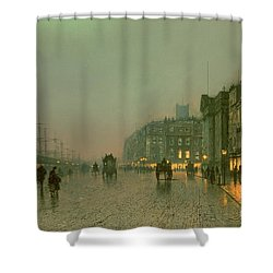 Liverpool Docks From Wapping Shower Curtain by John Atkinson Grimshaw