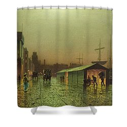 Liverpool Docks Shower Curtain by John Atkinson Grimshaw