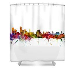 Liverpool England Skyline Panoramic Shower Curtain