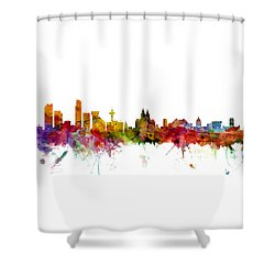 Liverpool England Skyline Panoramic Shower Curtain