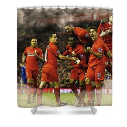 Liverpool V Leicester City Shower Curtain by Don Kuing