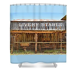 Livery Stable Shower Curtain by Ray Shrewsberry