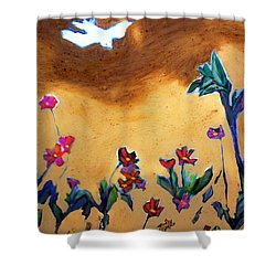Shower Curtain featuring the painting Living Earth by Winsome Gunning