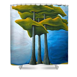 Living In The Shadow Shower Curtain by Richard Hoedl