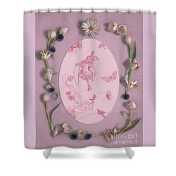 Shower Curtain featuring the mixed media Lizette Of Whispering Daydreams With White Tulips by Nancy Lee Moran