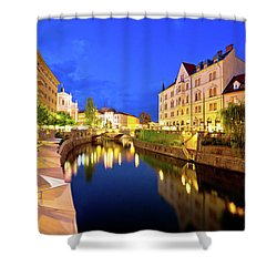 Ljubljanica River Waterfront In Ljubljana Evening View Shower Curtain