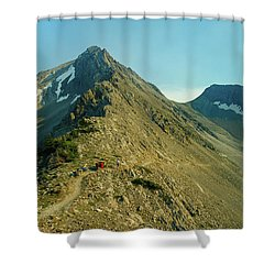Llama Packer Hiking A Steep Rocky Mountain Peak Trail Shower Curtain by Jerry Voss