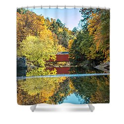 Shower Curtain featuring the photograph Mcconnell's Mill And Covered Bridge by Skip Tribby