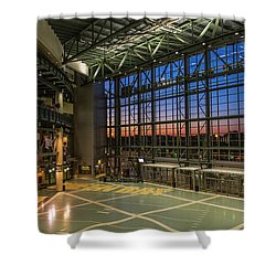 Shower Curtain featuring the photograph Lambeau Field Atrium Sunset by Joel Witmeyer