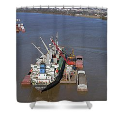 Loading Barges From A Ship In New Orleans Shower Curtain by Garry McMichael