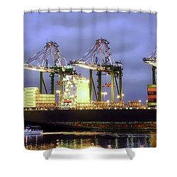 Loading Derricks In Los Angeles Harbor Shower Curtain