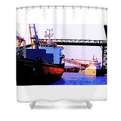Loading The Iron Ore On The Great Lakes Freighters Shower Curtain