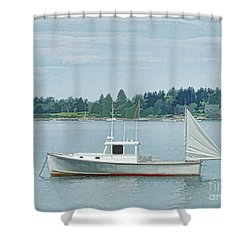 Lobster Boat Harpswell Maine Shower Curtain