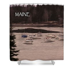 Lobster Boats Shower Curtain by Jewels Blake Hamrick