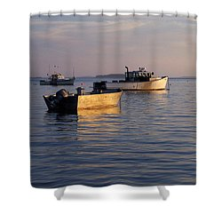 Lobster Boats Off Harpswell Maine Shower Curtain by Colleen Williams