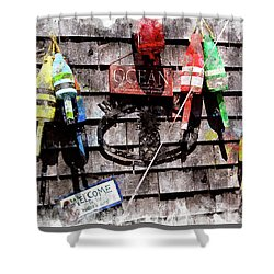 Lobster Buoys Wc Shower Curtain by Peter J Sucy