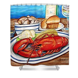 Shower Curtain featuring the pastel Lobster Dinner by Patricia L Davidson