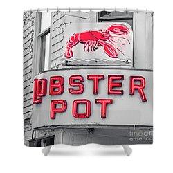Lobster Pot Neon Provincetown Cape Cod Shower Curtain by Edward Fielding