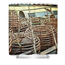Shower Curtain featuring the photograph Lobster Pots by Wallaroo Images
