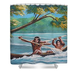 Locals Rowing In The Amazon River Shower Curtain