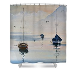 Locarno Boats In February-2 Shower Curtain by David Gilmore