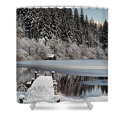 Loch Ard Winter View Shower Curtain