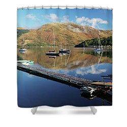 Loch Leven  Jetty And Boats Shower Curtain by Grant Glendinning