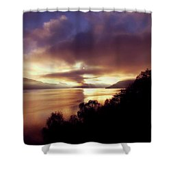 Loch Ness Winter Sunset Shower Curtain