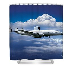Willie Victor, Lockheed Ec-121k Warning Star In Flight Shower Curtain