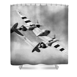Lockheed P-38l Lightning Drawing Shower Curtain by Douglas Castleman