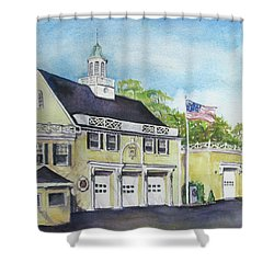 Shower Curtain featuring the painting Locust Valley Firehouse by Susan Herbst