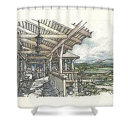 Shower Curtain featuring the drawing Lodge 2 by Andrew Drozdowicz