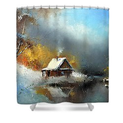 Lodge In The Winter Forest Shower Curtain