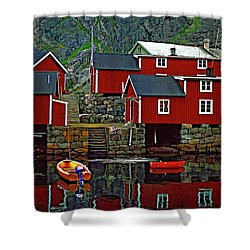 Lofoten Fishing Huts Oil Shower Curtain by Steve Harrington