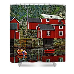 Lofoten Fishing Huts Shower Curtain