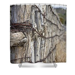 Shower Curtain featuring the photograph Log And Wire Fence by Phyllis Denton