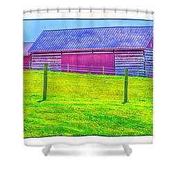 Shower Curtain featuring the photograph Log Barn by R Thomas Berner