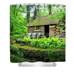 Log Cabin At Morris Arboretum Shower Curtain