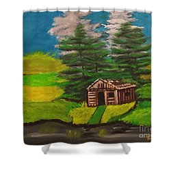 Shower Curtain featuring the painting Log Cabin by Brindha Naveen