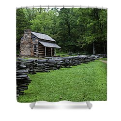 Log Cabin Shower Curtain by David Cote