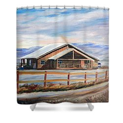 Log Cabin House In Winter Shower Curtain by Sherril Porter