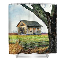 Log Cabin - Paradise Springs - Kettle Moraine State Forest Shower Curtain by Jennifer Rondinelli Reilly - Fine Art Photography